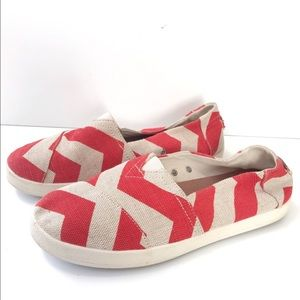 TOMS AVALON Slip On Sneakers-Chevron-Red/Tan -10